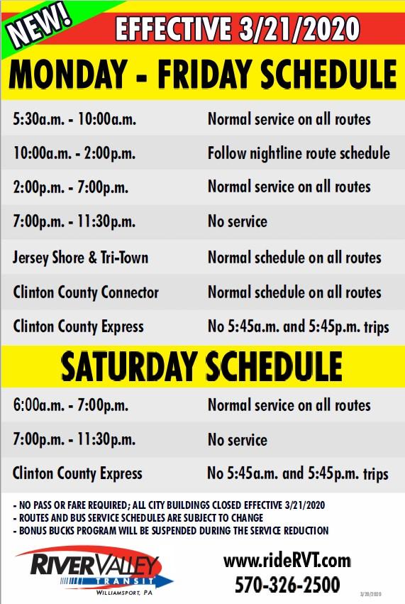 New Service Schedule