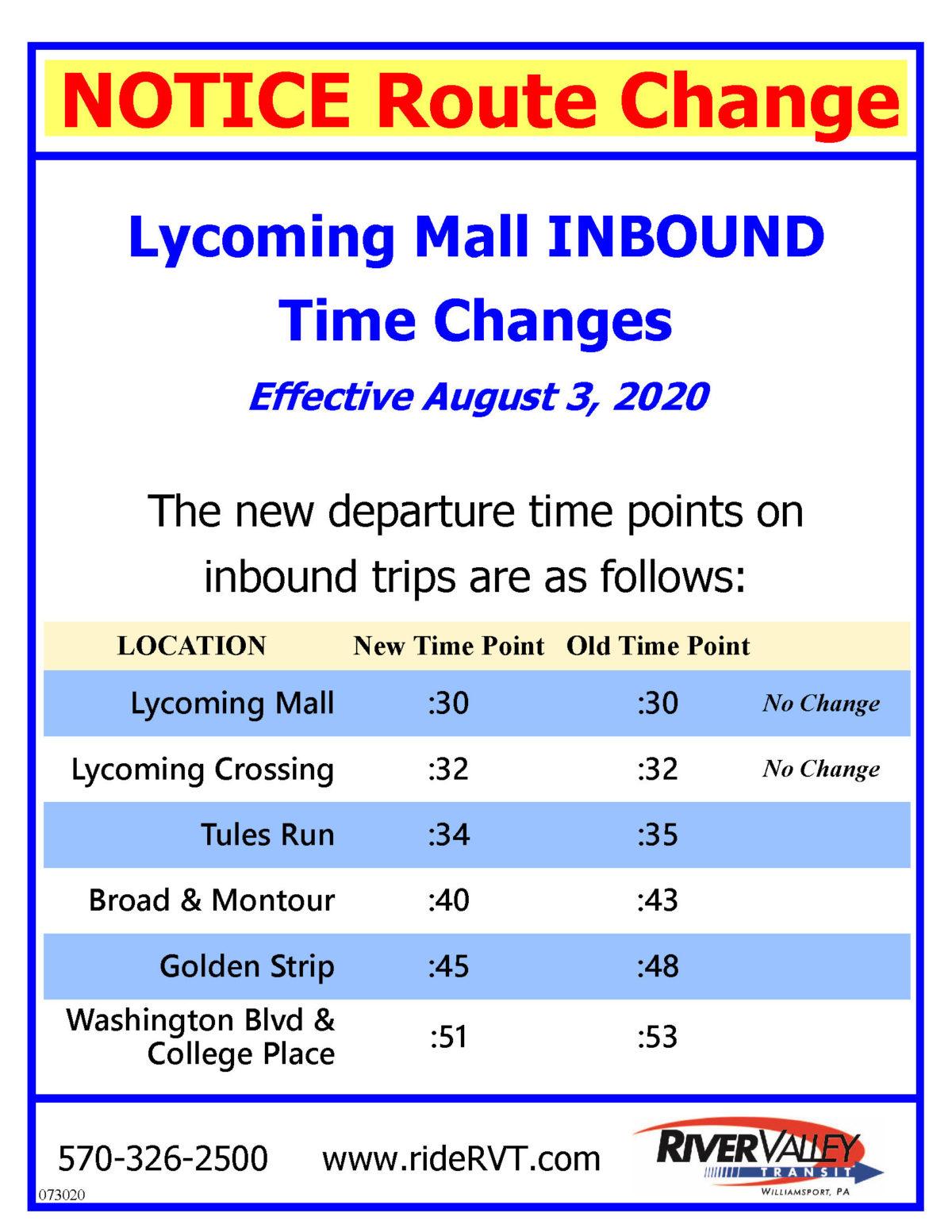 Lyco Mall Inbound Change